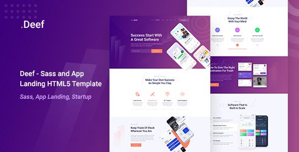 Deef - Sass and App Landing HTML5 Template