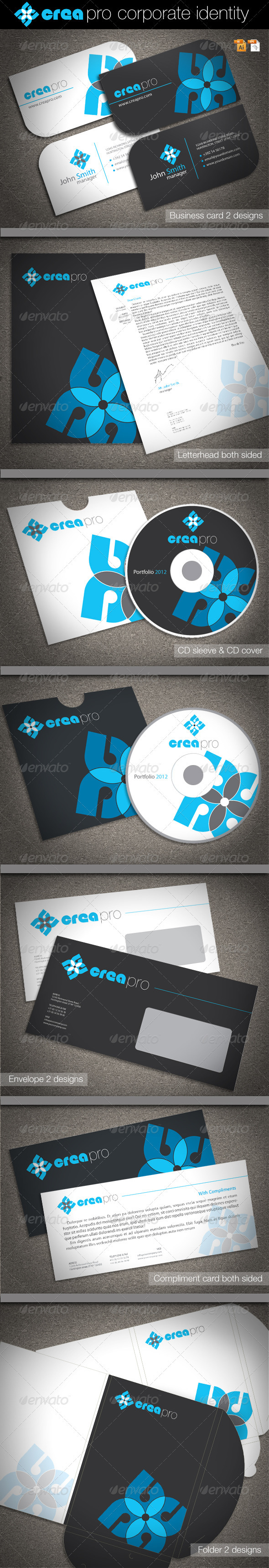 Crea Pro Corporate Identity - Stationery Print Templates