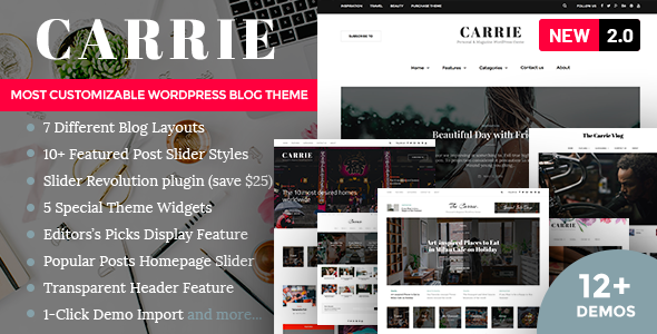 Carrie - Personal & Magazine WordPress Theme by Creanncy