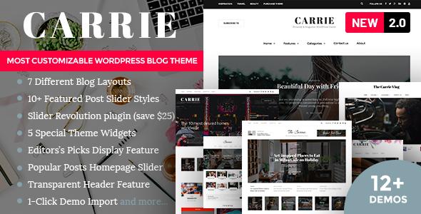 Carrie - Personal & Magazine WordPress Responsive Clean Blog Theme
