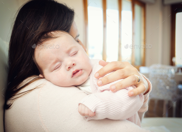 Newborn Baby Girl Sleeping On Shoulder Stock Photo By Antoniogravante
