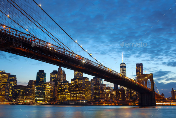 New york city skyline by night - Stock Photo - Images