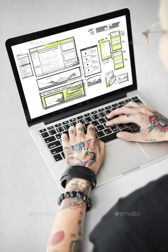 Website development layout sketch drawing - Stock Photo - Images