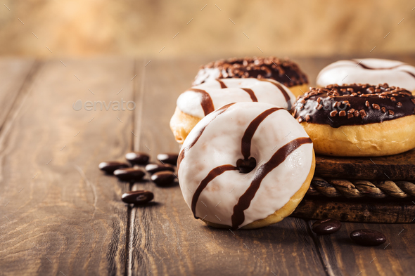 Glazed mini donuts - Stock Photo - Images