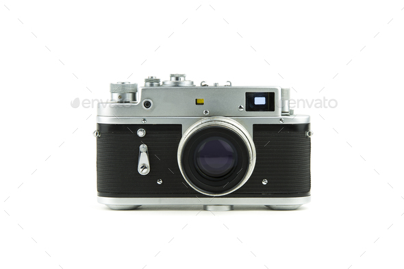 isolated in white vintage camera - Stock Photo - Images