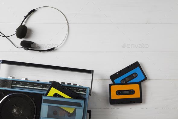 vintage cassette radio 80s - Stock Photo - Images