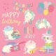 White Cartoon Unicorns with Birthday Theme - GraphicRiver Item for Sale