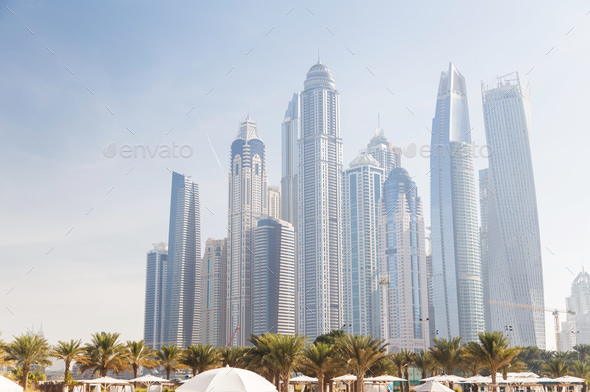 View of various skyscrapers in Dubai Marina - Stock Photo - Images