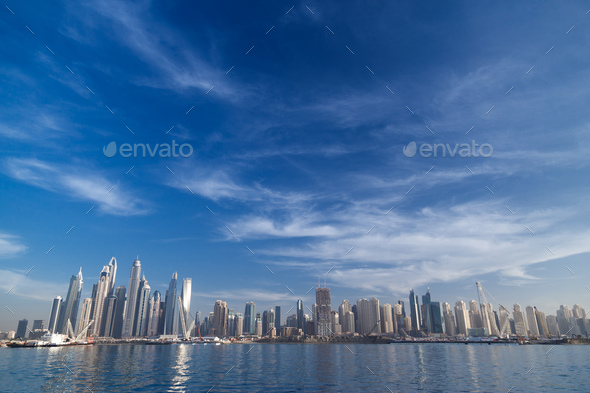 Dubai skyline. JBR Jumeirah beach residencies. - Stock Photo - Images