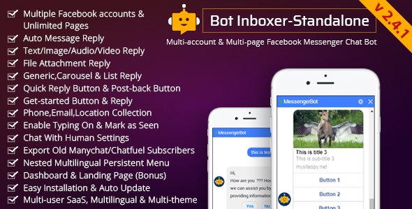 Bot Inboxer - Standalone : Multi-account & Multi-page Facebook Messenger Chat Bot - CodeCanyon Item for Sale