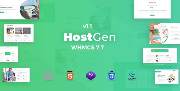 HostGen - Multipurpose Hosting Provider HTML5 Template With WHMCS