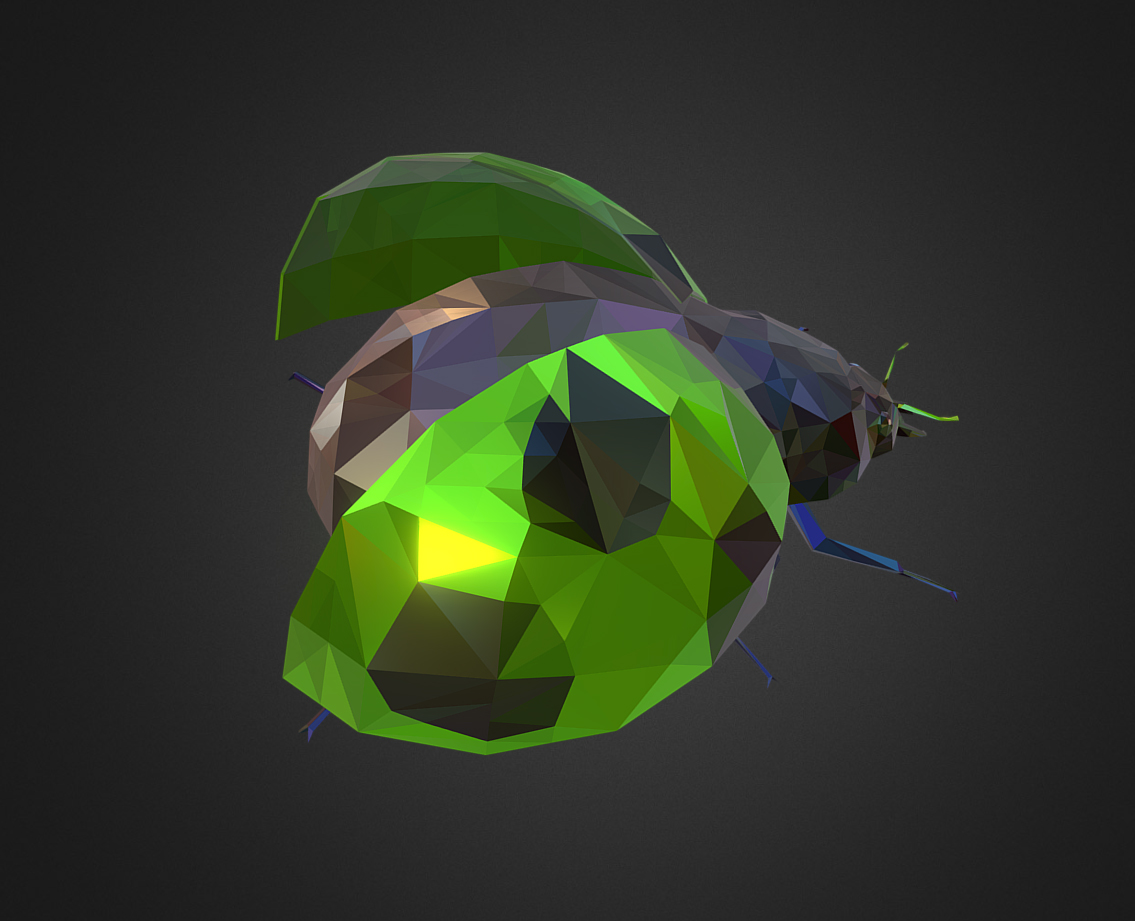 Green Bug Ladybug Low Polygon Art Insect