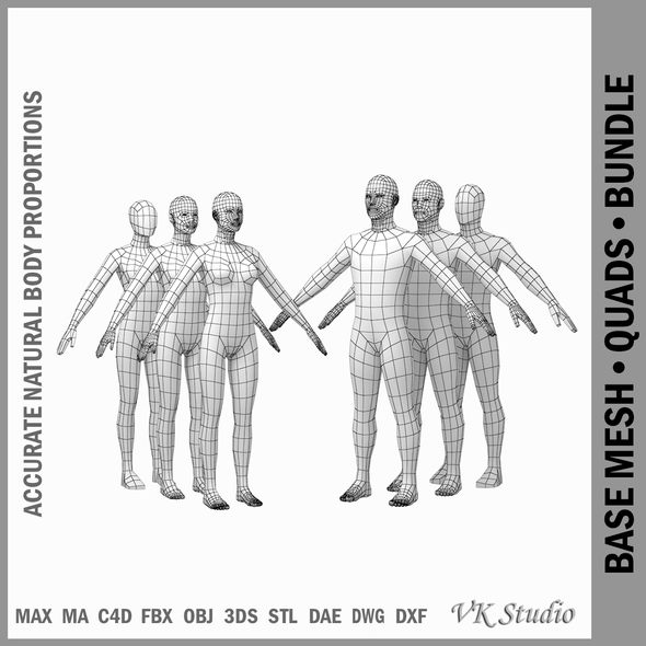 Female and Male Base Mesh Natural Proportions in A Pose BUNDLE - 3DOcean Item for Sale