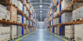Warehouse or storage and shelves with cardboard boxes. Industria - PhotoDune Item for Sale