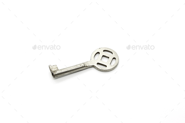 Silver key isolated on white background - Stock Photo - Images