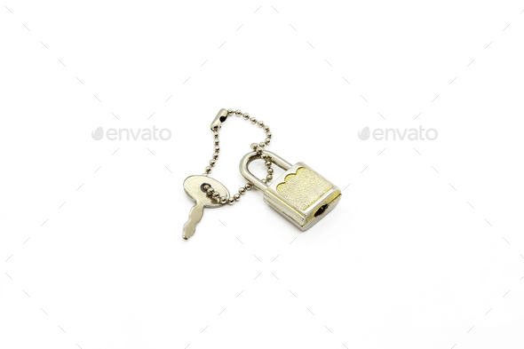 Padlock and key for bag or suitcase on white background - Stock Photo - Images