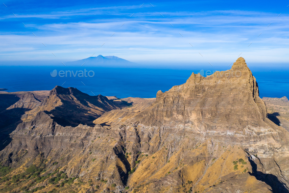 Aerial view of Brianda mount in Rebeirao Manuel in Santiago isla - Stock Photo - Images