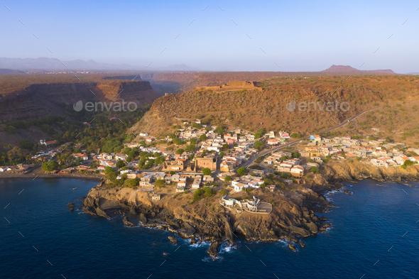 Aerial view Cidade Velha city  in Santiago - Cape Verde - Cabo V - Stock Photo - Images
