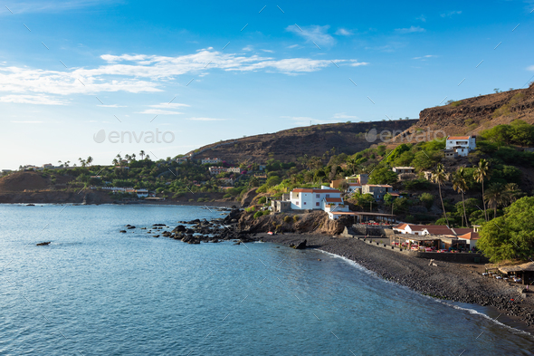 Aerial view Cidade Velha city beach  in Santiago - Cape Verde - - Stock Photo - Images