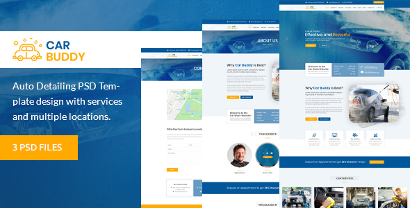 AutoBuddy - Car Wash & Detailing Center PSD Template