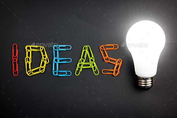 Ideas word with light bulb - Stock Photo - Images