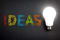 Ideas word with light bulb - PhotoDune Item for Sale