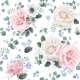 White and Pink Rose Flower Seamless Pattern - GraphicRiver Item for Sale