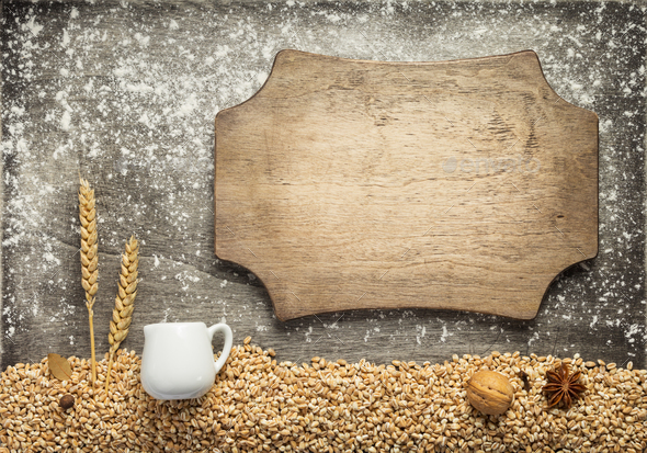 wheat grains and bakery ingredients - Stock Photo - Images