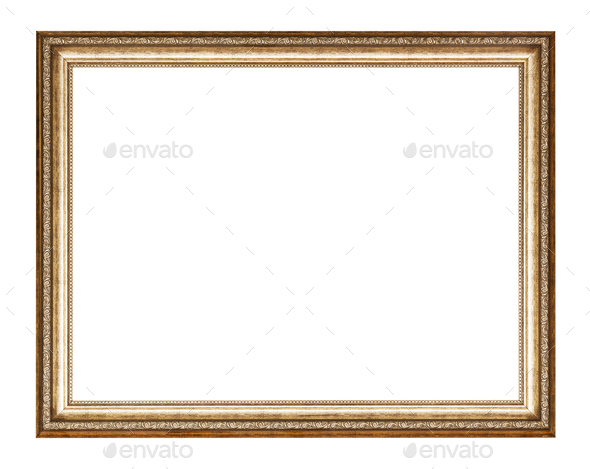 empty golden carved wooden picture frame - Stock Photo - Images