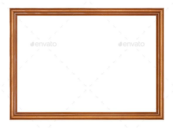 empty narrow brown lacquered wooden picture frame - Stock Photo - Images