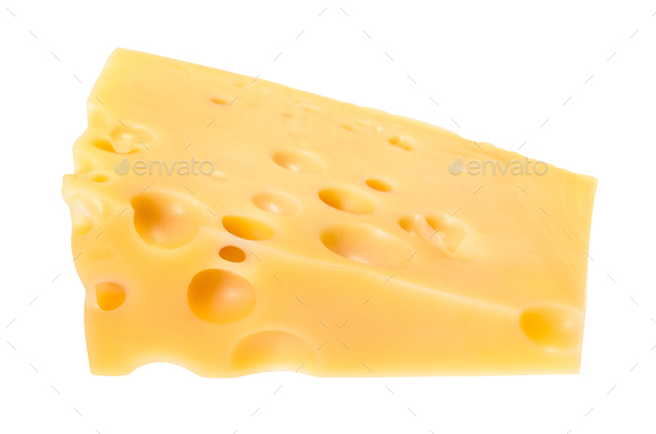triangular piece of yellow swiss cheese isolated - Stock Photo - Images