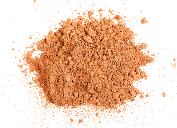 top view of handful of cocoa powder isolated - Stock Photo - Images