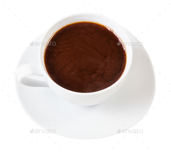 above view of hot carob powder drink in white cup - Stock Photo - Images