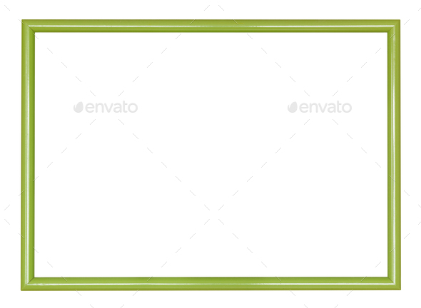 empty modern green narrow wooden picture frame - Stock Photo - Images