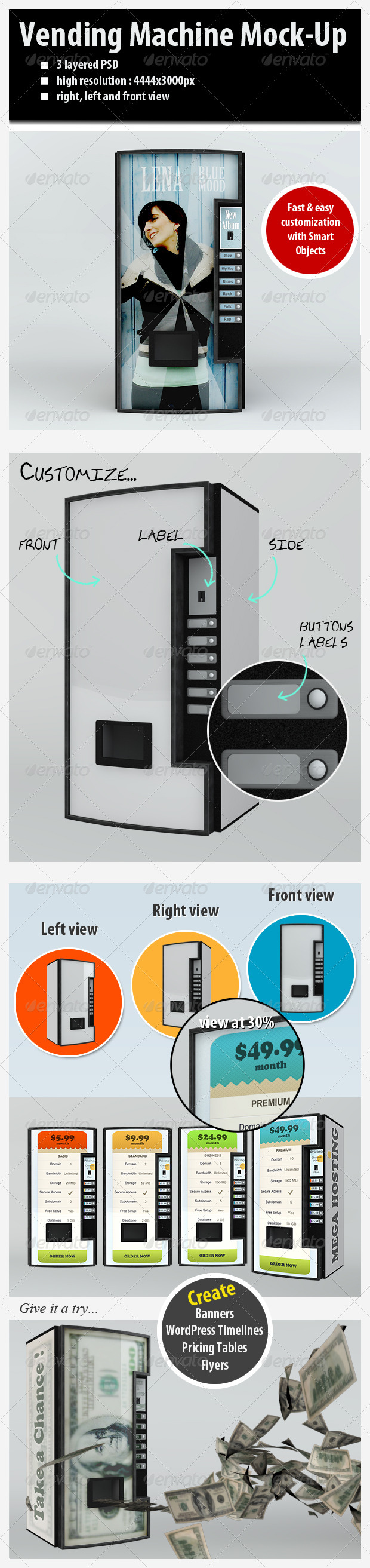 Customizable Vending Machine Mock-Up - Miscellaneous Product Mock-Ups