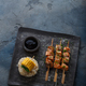 Salmon kebabs with corn and noodles, copy space - PhotoDune Item for Sale