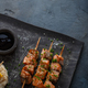 Salmon skewers with miso close view with noodles and corn, copy space - PhotoDune Item for Sale