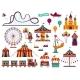 Amusement Park Attractions Set. Carnival Amuse - GraphicRiver Item for Sale