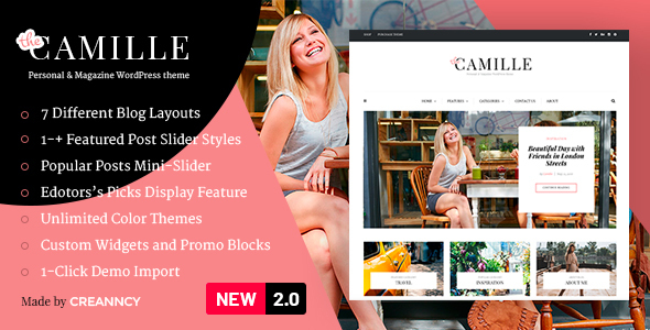 Camille - Personal & Magazine WordPress Theme by Creanncy
