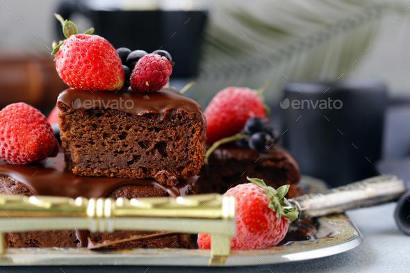 Chocolate Brownie Cake - Stock Photo - Images