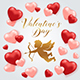 Valentine's Day Card with Cupid and Hearts - GraphicRiver Item for Sale
