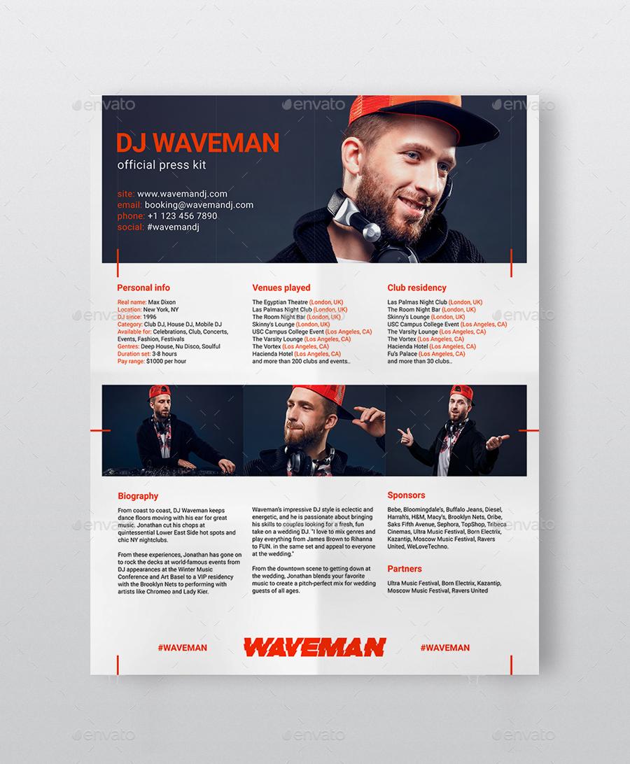 . Modern DJ Press Kit   Rider   Resume PSD Template