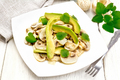 Salad of avocado and champignons on wooden table - PhotoDune Item for Sale