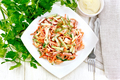 Salad of sausage and spicy carrots with mayonnaise on table top - PhotoDune Item for Sale