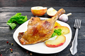 Duck leg with apple and basil on board - PhotoDune Item for Sale