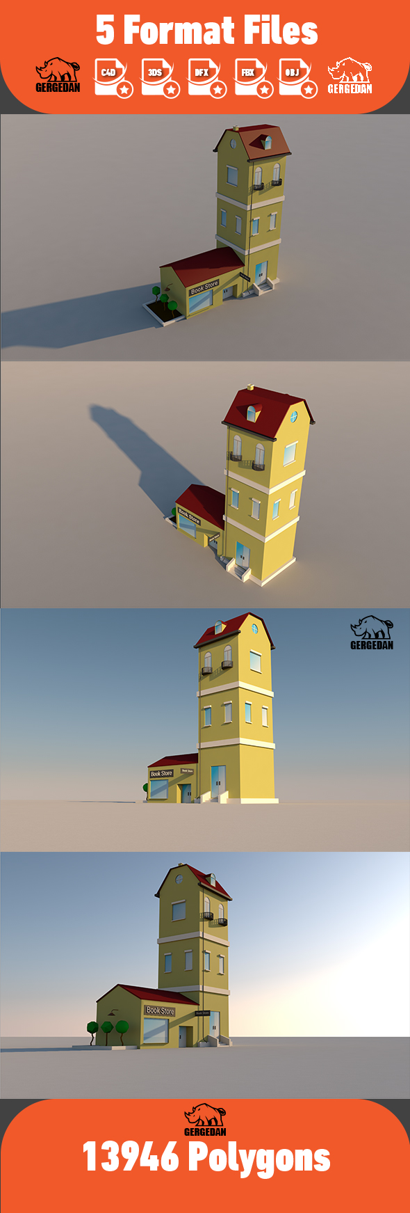 Low Poly Apartment and Store - 3DOcean Item for Sale