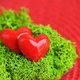 Valentines Day background with hearts. Hearts in green moss on r - PhotoDune Item for Sale