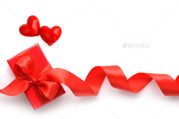 Valentines Day background. Two hearts and red gift box on white - Stock Photo - Images