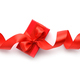 Red gift box with red ribbon on white background. Top view - PhotoDune Item for Sale