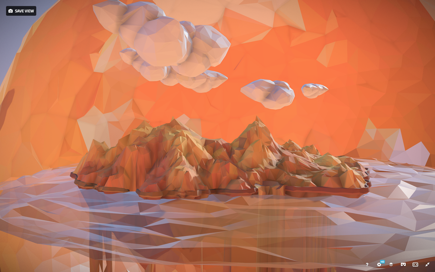 Low Polygon Art Sand Waterfall Island Mountain